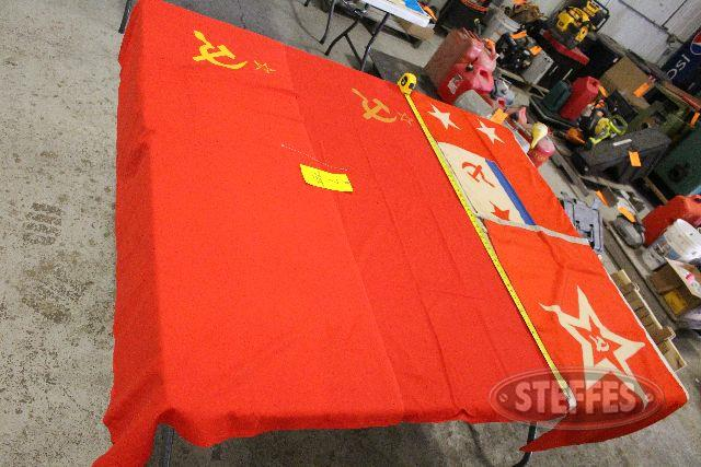 (2) Russian USSR banners,