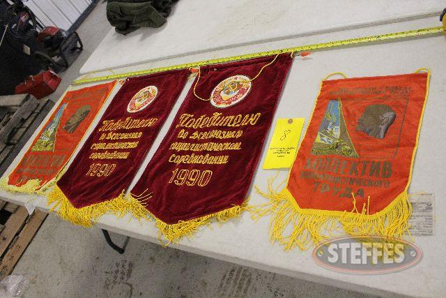 (4) Russian Soviet banners