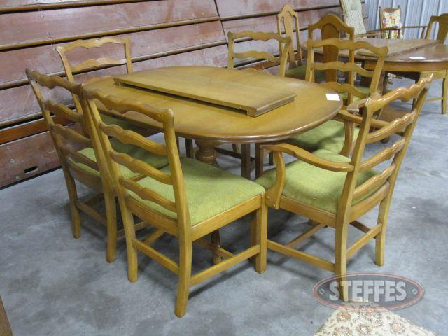 Wood Table - Chairs round pedestal table with 2 leaves, 6 chairs_2.JPG