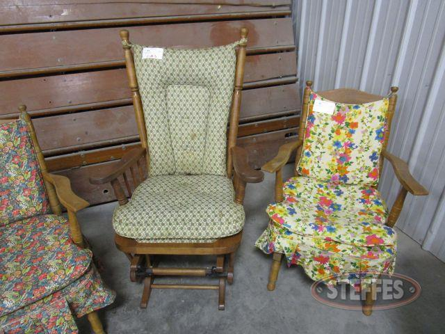 3 Padded Wood Chairs 1 Glider, 2 rockers_1.JPG