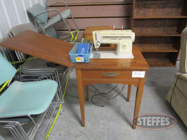 Singer Stylist 513 Sewing Machine in Wood Cabinet with misc. attachments S-N 186091_1.JPG