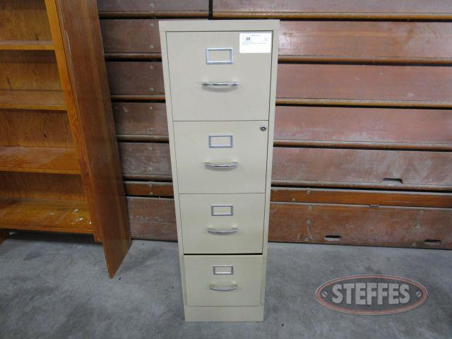 Metal Filing Cabinet 4 drawer, 52- tall x 15- wide x 22- deep, (NO KEY FOR LOCK)_1.JPG