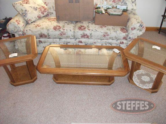 Glass Top Coffee Table & 2 End Tables