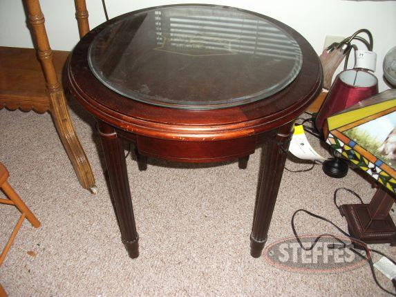 John Deere round glass top table