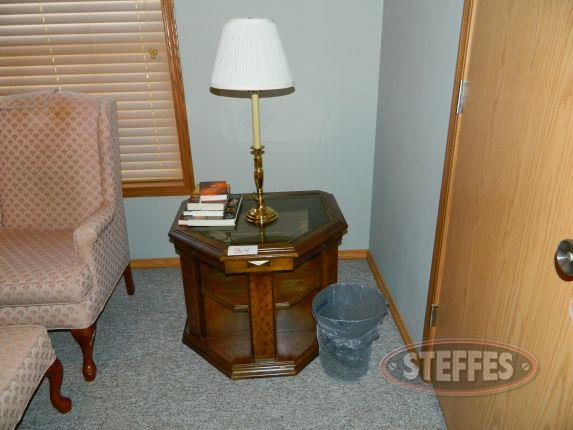 End Table, lamp, books, - trash can_2.jpg