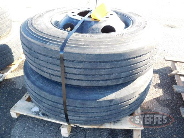 (2) 11R22.5 tires on steel rims, _1.JPG