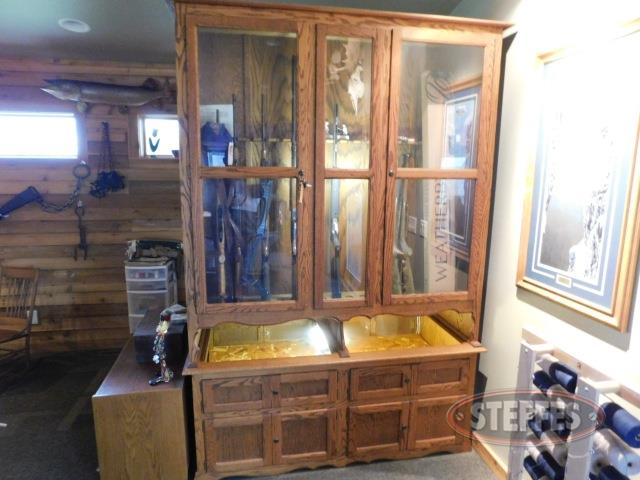 Wood gun cabinet, two-sided, holds approx. (22) guns