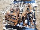 Pallet of chisel plow spikes & plow parts,