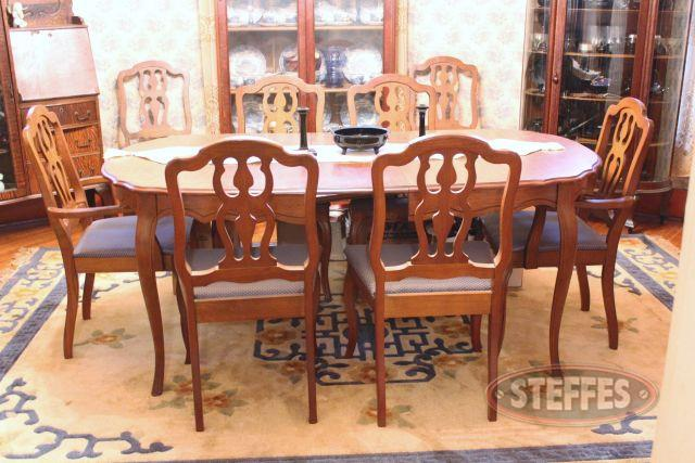 Pecan Oval Dining Room Table and (8) Chairs