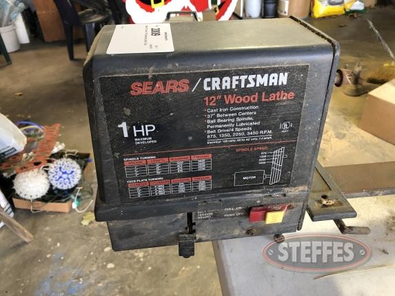 "Sears 12"" Wood 1 HP Lathe and Lathe Tools"