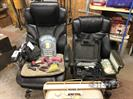 (2) Office Chairs, Button Plugs, Sander, Fan, Weights, Grips