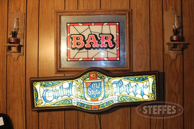 Old Style Lighted Sign, Bar Mirror, and Sconces