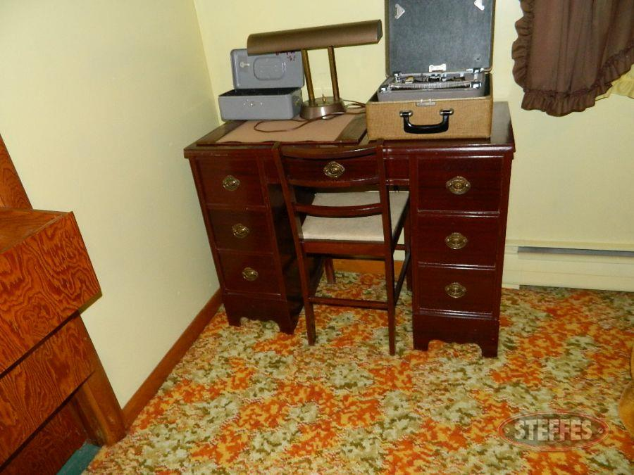 Desk, Chair, Typewriter, Money Box, and Lamp