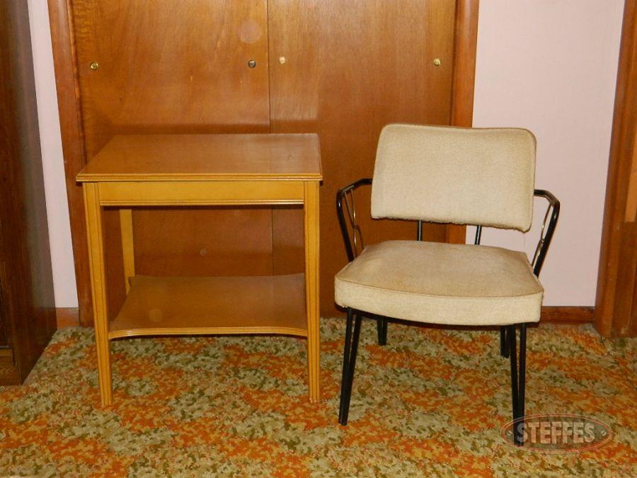 (2) Nightstands and contents, (1) Chair