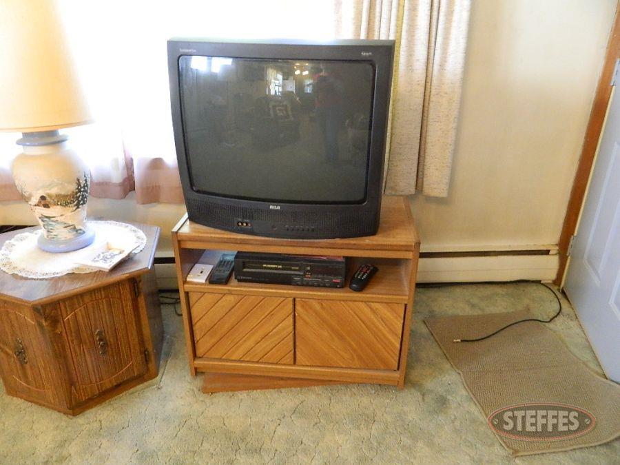 "RCA  27"" Television, Stand and Contents, and VCR"