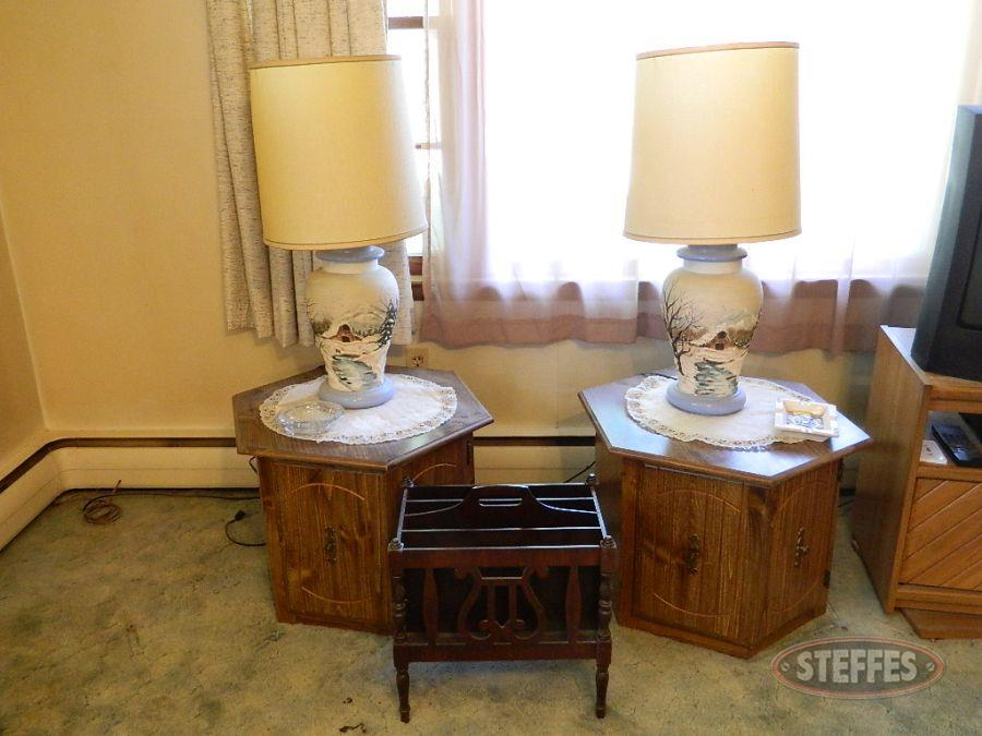 (2) End Tables, Magazine Rack, and Lamps