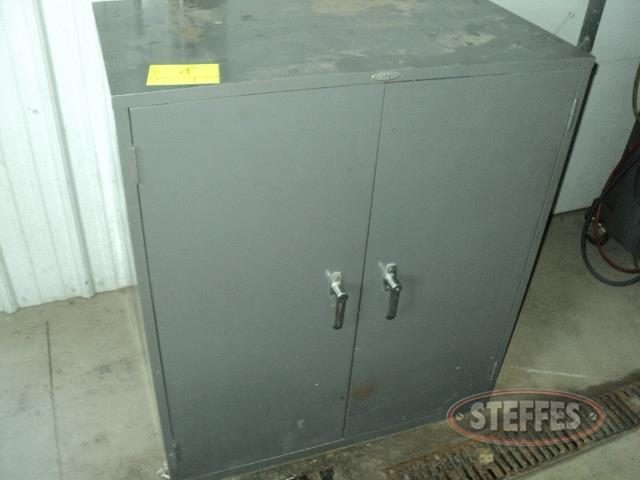Metal 2-door cabinet w/desk