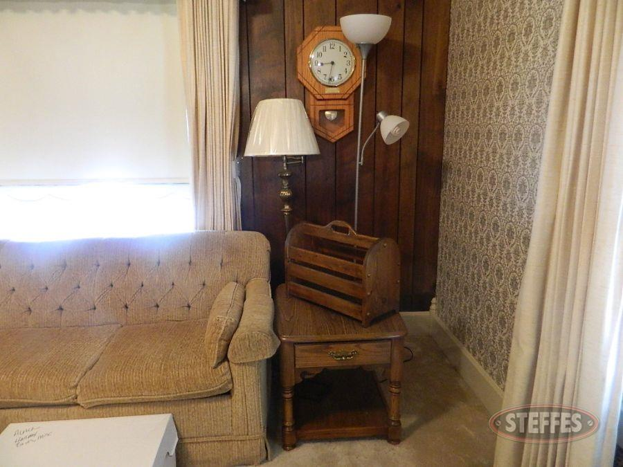 End Table, (2) Lamps, Magazine Rack, & Wall Clock