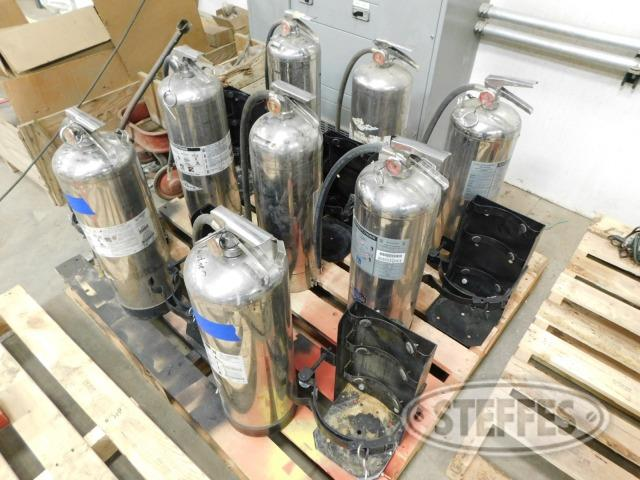 (8) stainless steel fire extinguishers,